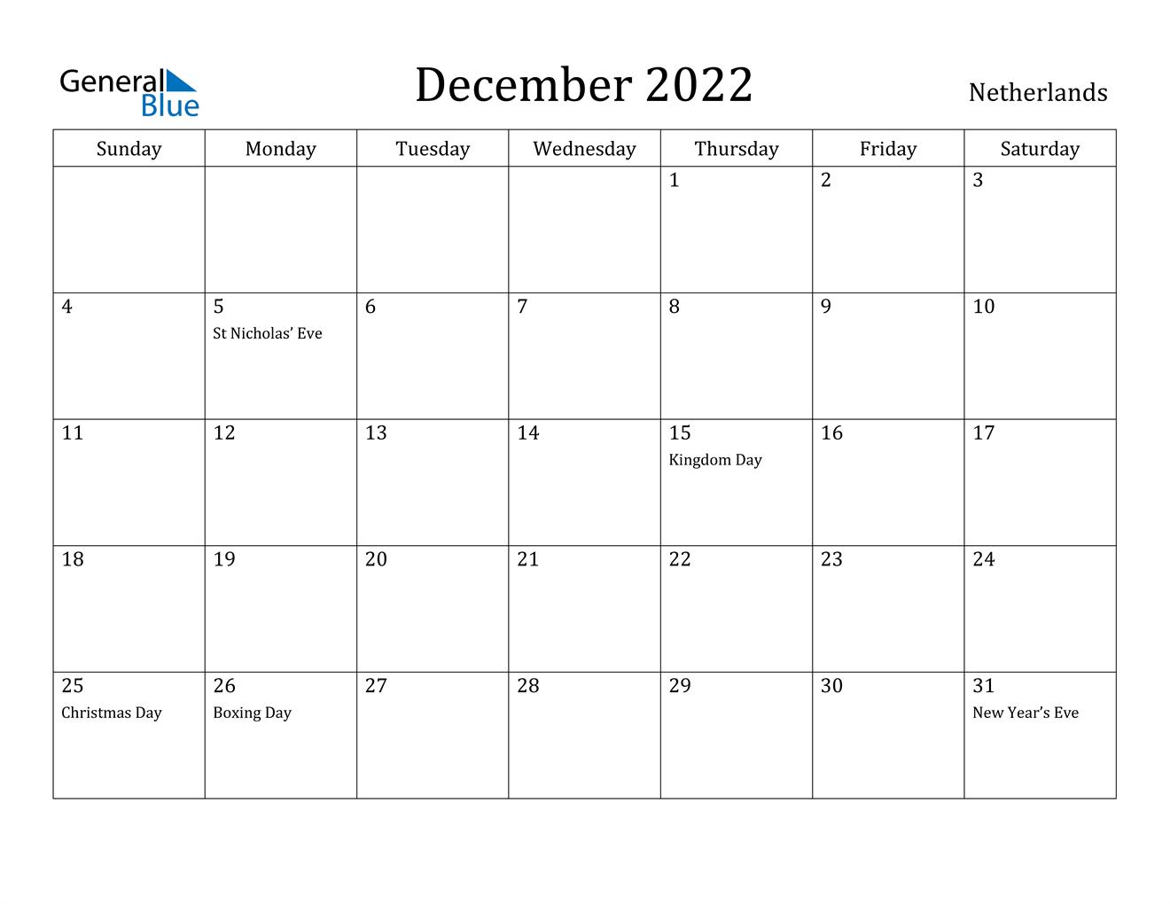 December 2022 Calendar - Netherlands
