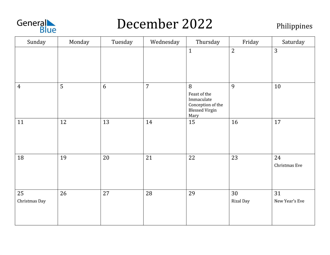 December 2022 Calendar - Philippines