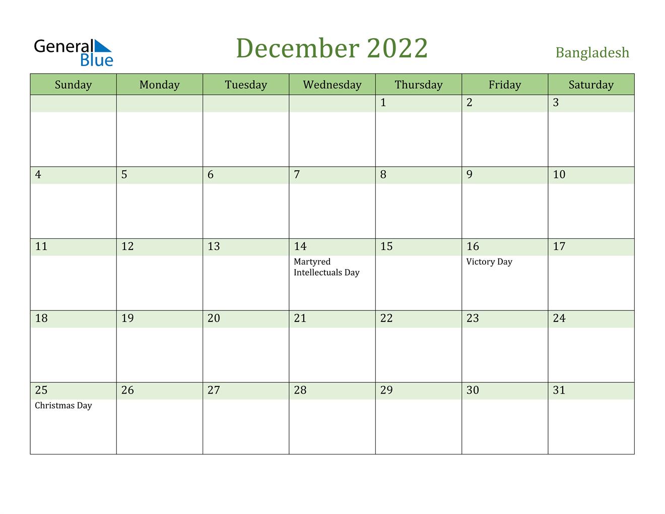 December 2022 Calendar - Bangladesh