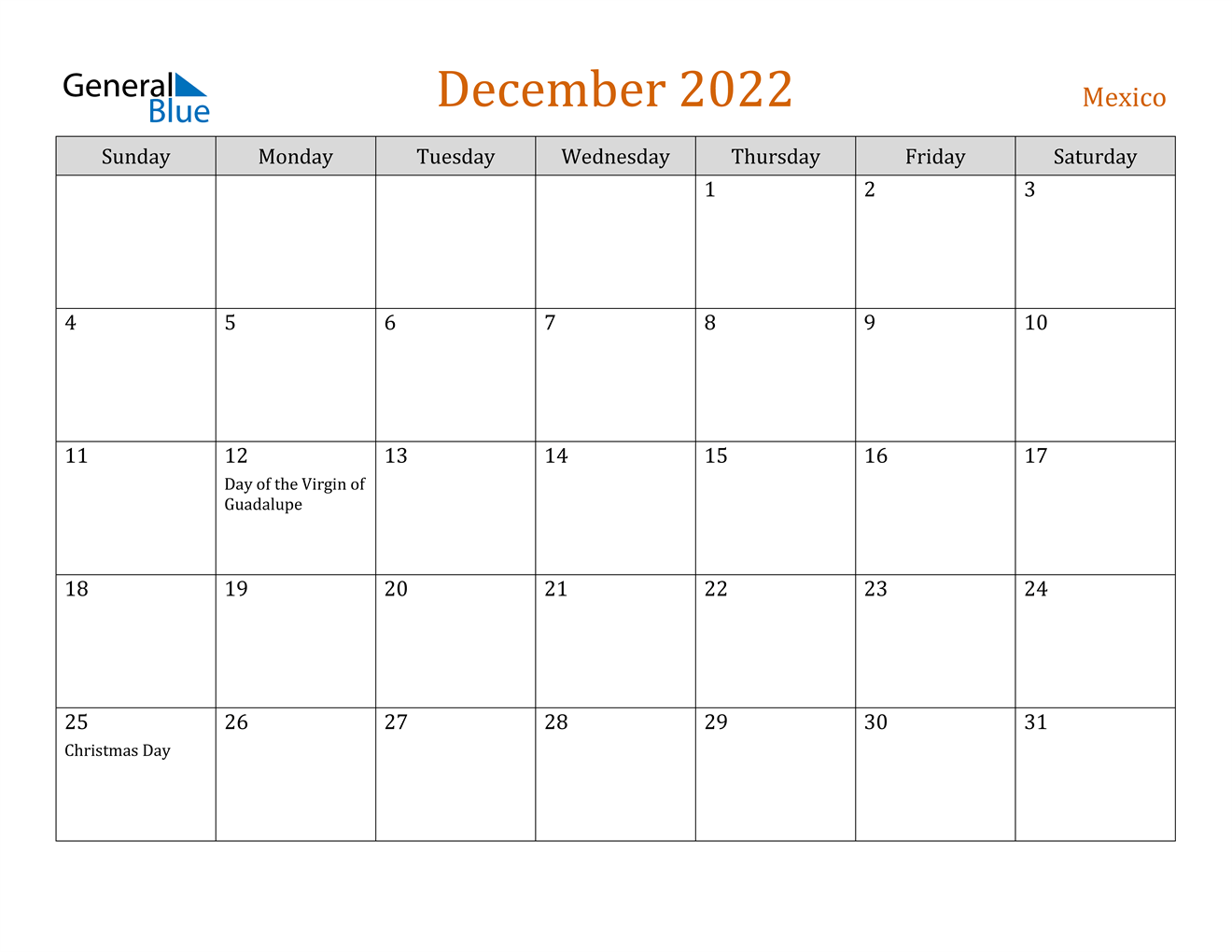 December 2022 Calendar - Mexico
