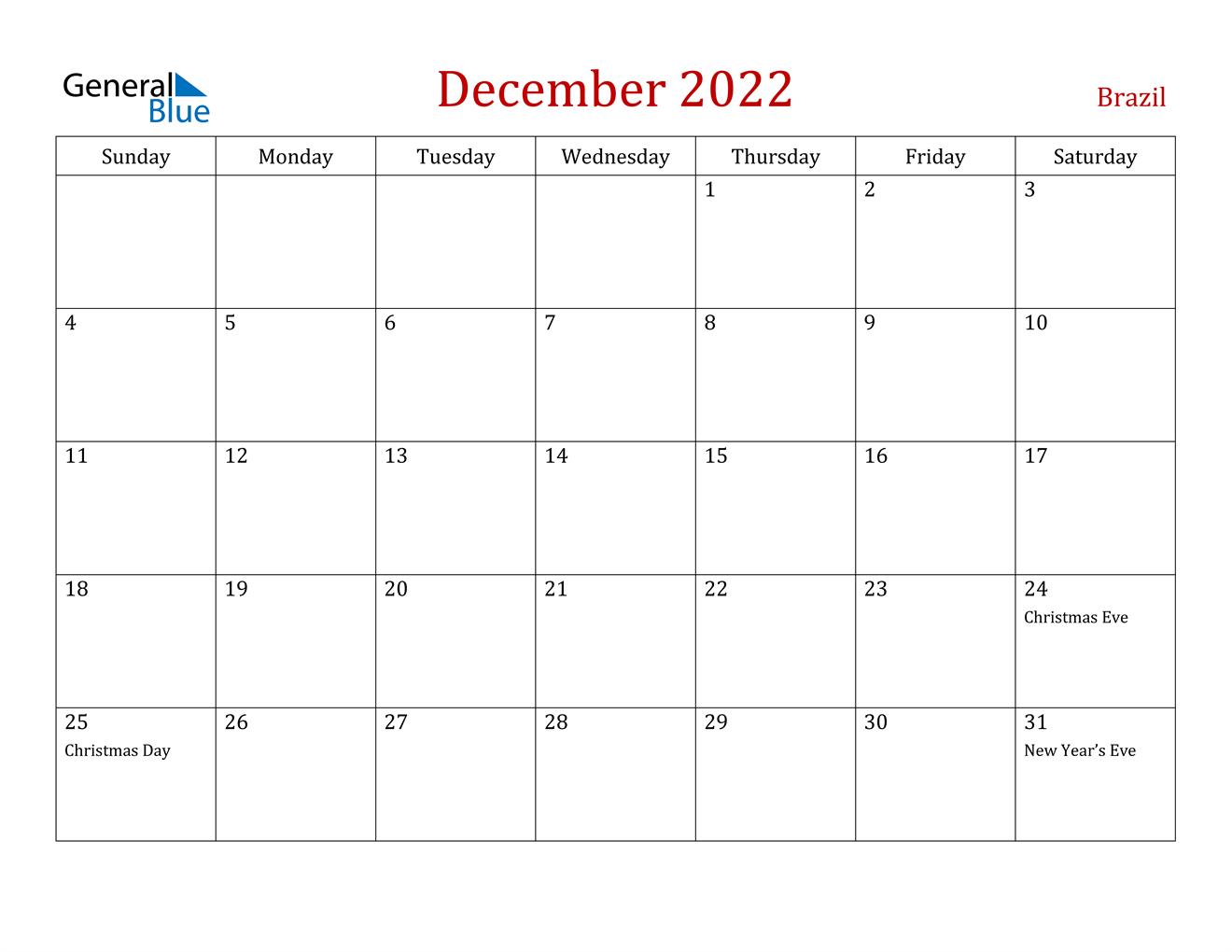 December 2022 Calendar - Brazil