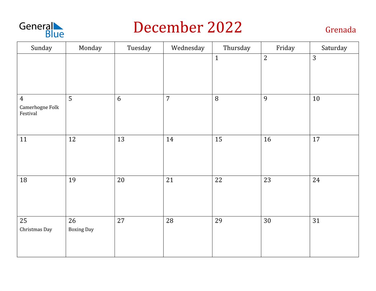 December 2022 Calendar - Grenada