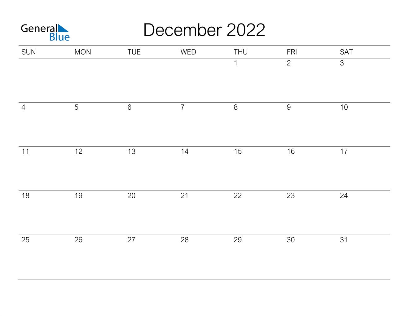 December 2022 Calendar - PDF Word Excel