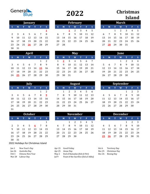 2022 Calendar - Christmas Island with Holidays