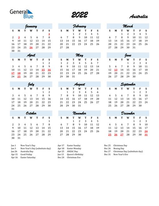 free printable calendars 2022, 2023 and 2024. 2022 Australia Calendar with Holidays
