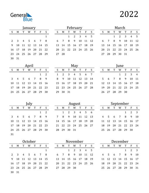 2022 Calendar (PDF, Word, Excel)