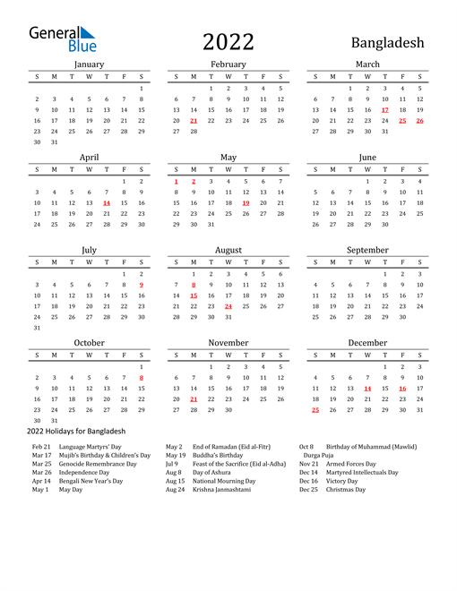2022 Calendar - Bangladesh with Holidays