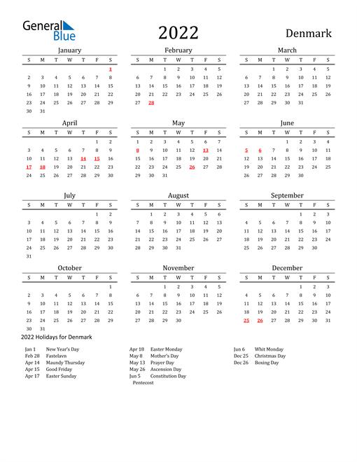 2022 Calendar - Denmark with Holidays