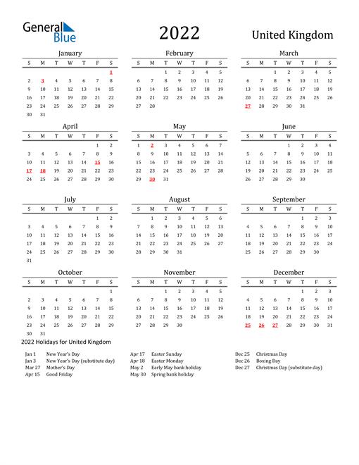 2022 Calendar - United Kingdom with Holidays