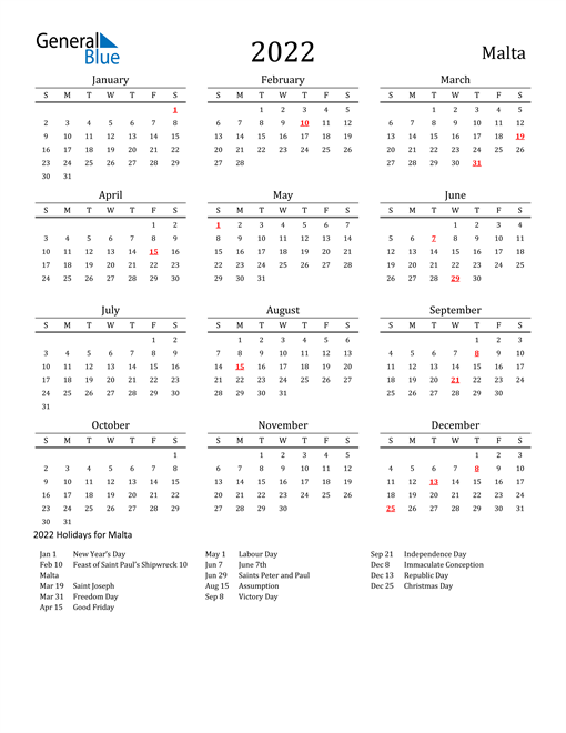 2022 Calendar - Malta with Holidays