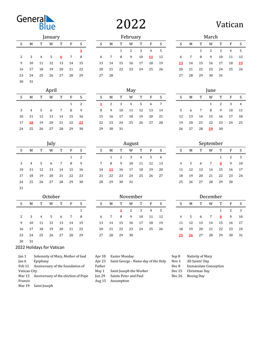 2022 Calendar - Vatican with Holidays