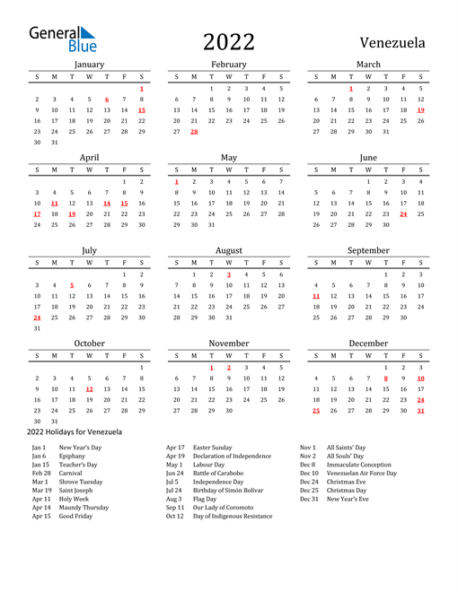2022 Calendar - Venezuela with Holidays