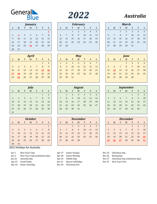 So these printable 2022 year calendars will help you to know about yearly holidays and events. 2022 Australia Calendar with Holidays