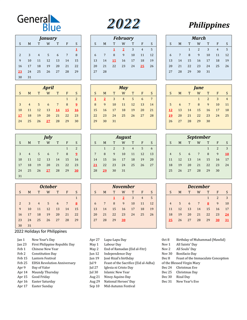 2022 Calendar - Philippines with Holidays