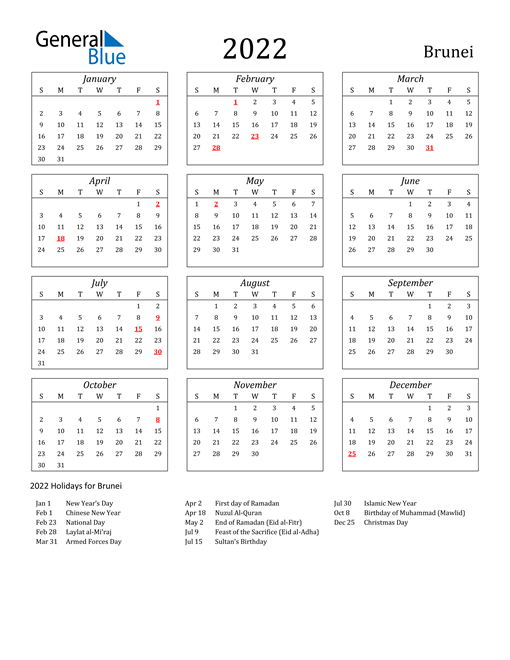 2022 Calendar - Brunei with Holidays