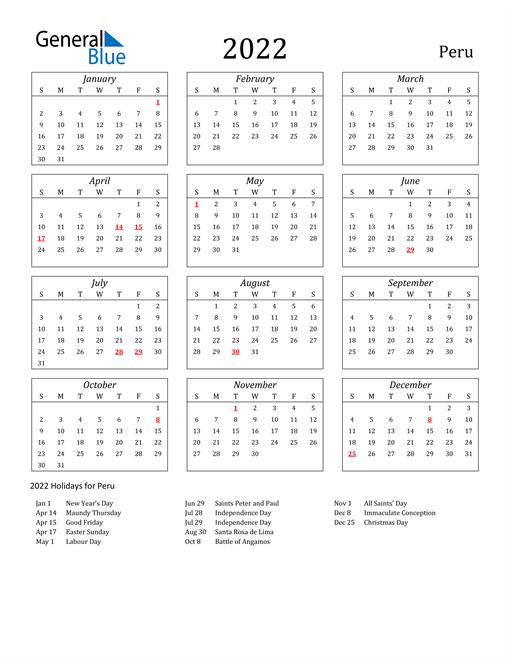 2022 Calendar - Peru with Holidays