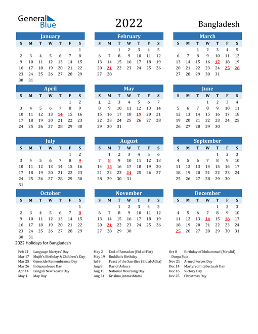 2022 Calendar - Bangladesh with Holidays