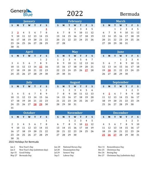 2022 Calendar - Bermuda with Holidays