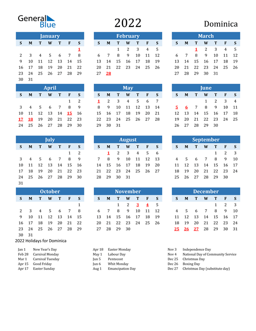 2022 Calendar - Dominica with Holidays