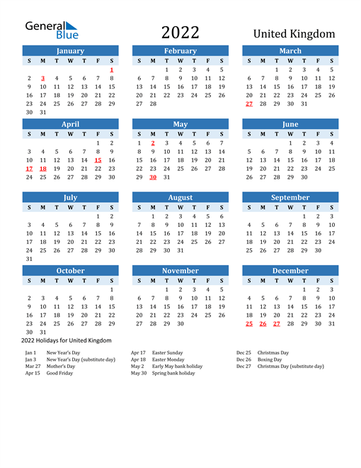 2022 Calendar - United Kingdom with Holidays