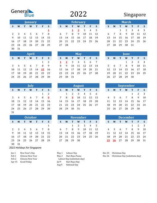 2022 Calendar - Singapore with Holidays