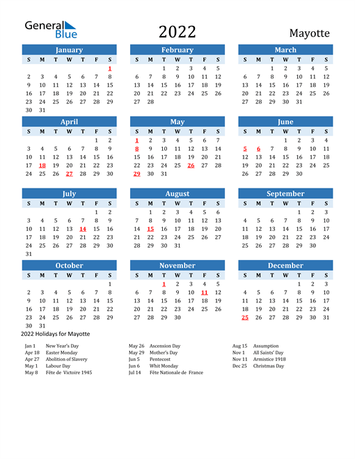 2022 Calendar - Mayotte with Holidays