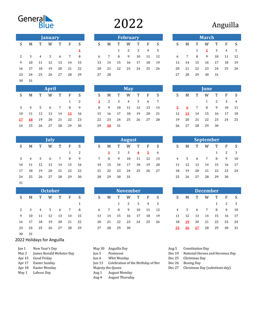 2022 Calendar - Anguilla with Holidays