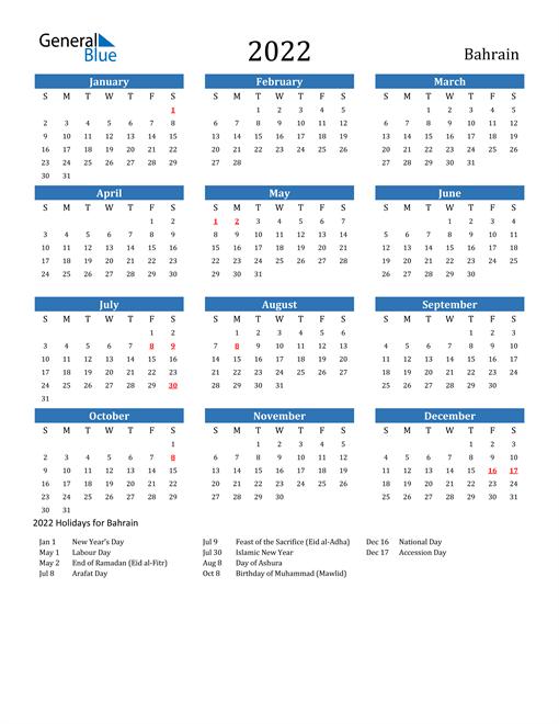 2022 Calendar - Bahrain with Holidays
