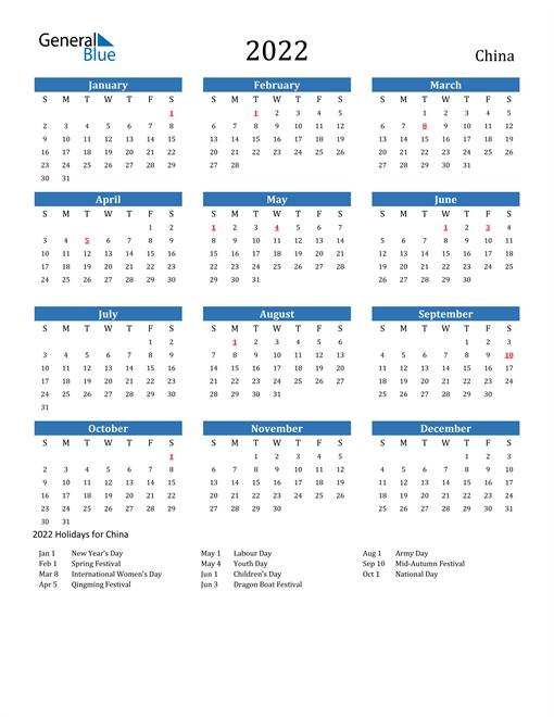 2022 Calendar - China with Holidays