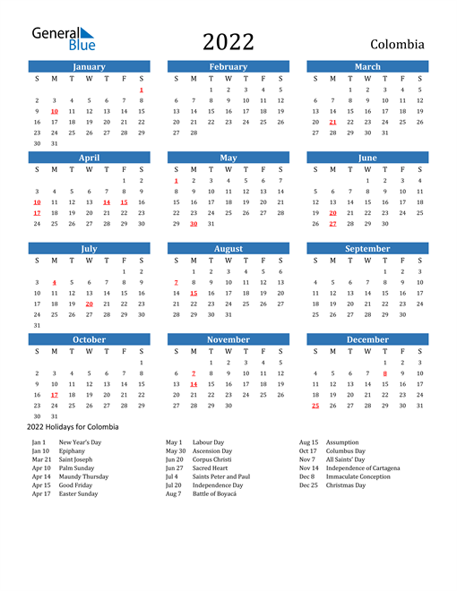 2022 Calendar - Colombia with Holidays