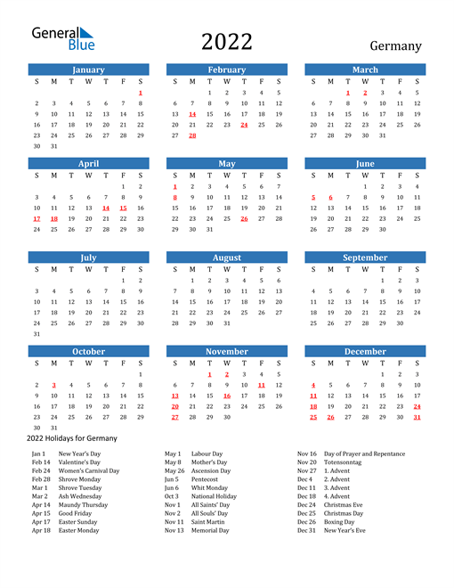 2022 Calendar - Germany with Holidays