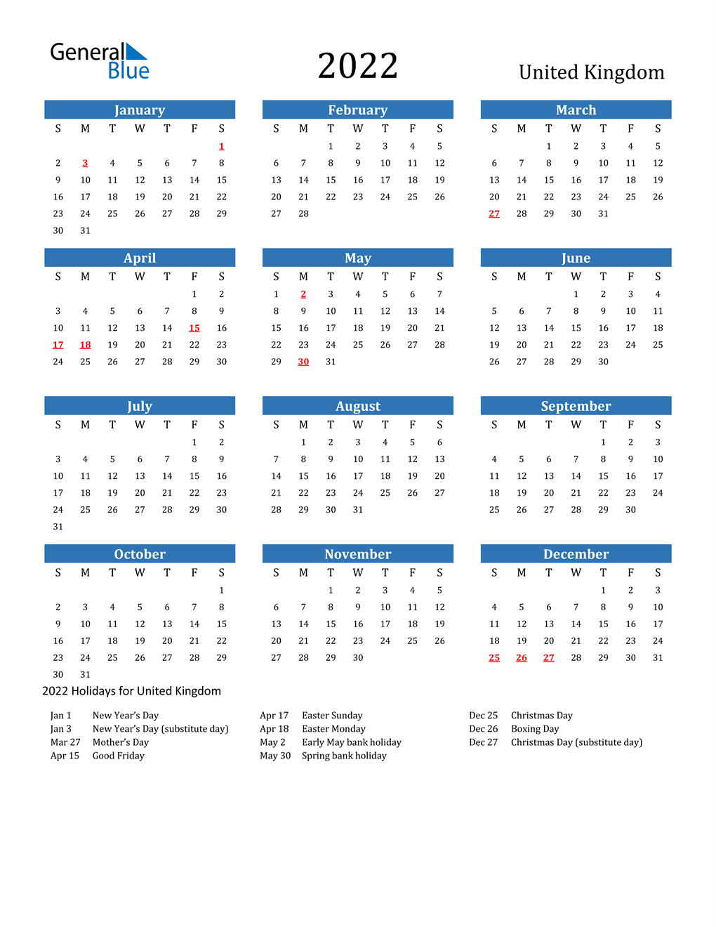 2021 has plenty of important financial dates and deadlines to track, and our personal finance calendar has them all in one place. 2022 United Kingdom Calendar with Holidays