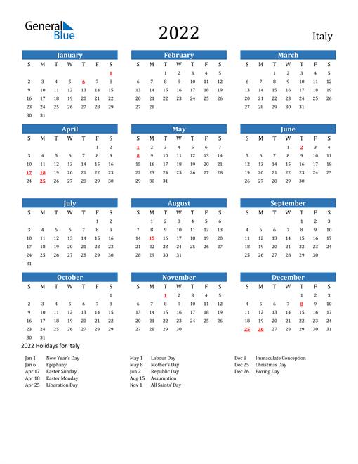 2022 Calendar - Italy with Holidays