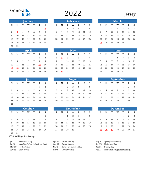 2022 Calendar - Jersey with Holidays