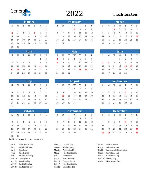 2022 Calendar - Liechtenstein with Holidays