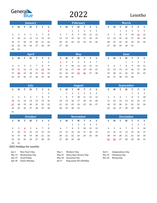 2022 Calendar - Lesotho with Holidays