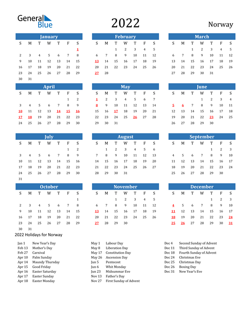 2022 Calendar - Norway with Holidays