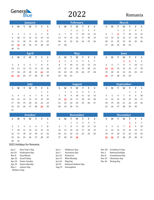 2022 Calendar - Romania with Holidays
