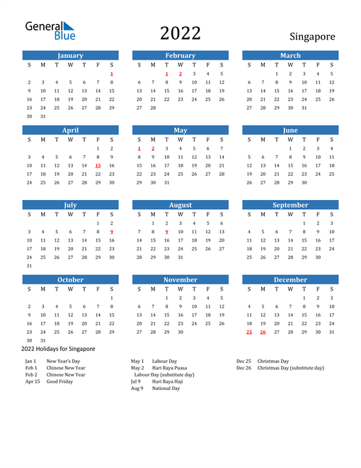 2022 Calendar - Singapore with Holidays