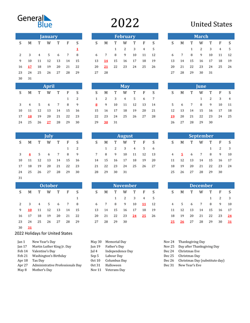 2022 Calendar - United States with Holidays