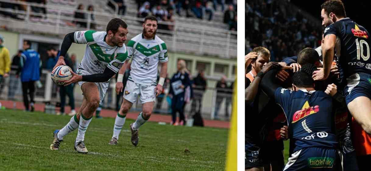 A gauche : club de rugby de Villeneuve-sur-Lot | A droite : le SUA d'Agen