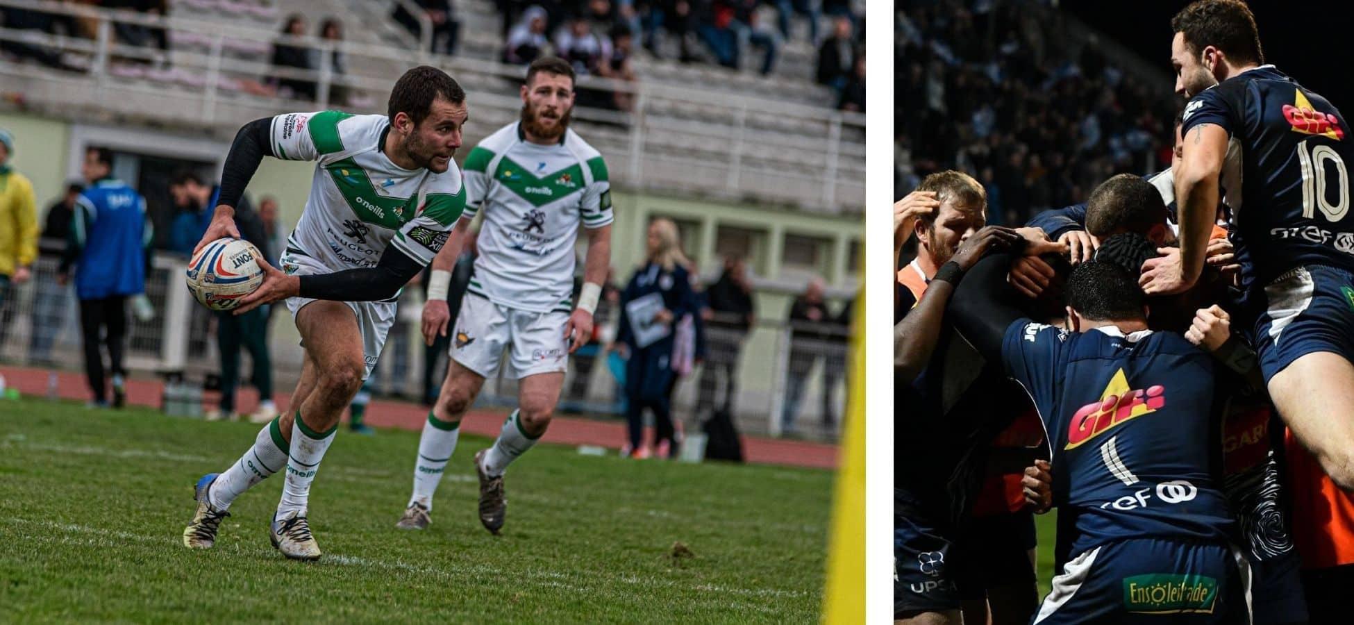 A gauche : club de rugby de Villeneuve-sur-Lot   A droite : le SUA d'Agen