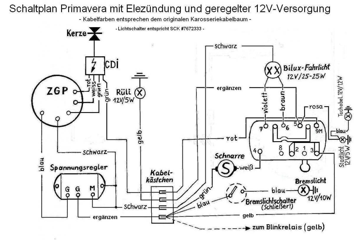 Schaltplan Lichtschalter Vespa