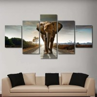 Brown African Elephant Wall Art Multi Panel Canvas ...