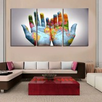 World Map as a Handprint Multi Panel Wall Art Canvas ...