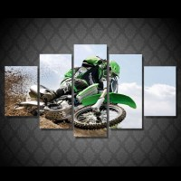 Motocross Supercross DirtBike Skidding Multi Panel Canvas ...
