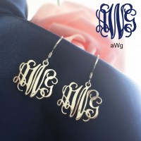 Personalized Sterling Silver Monogram Earrings