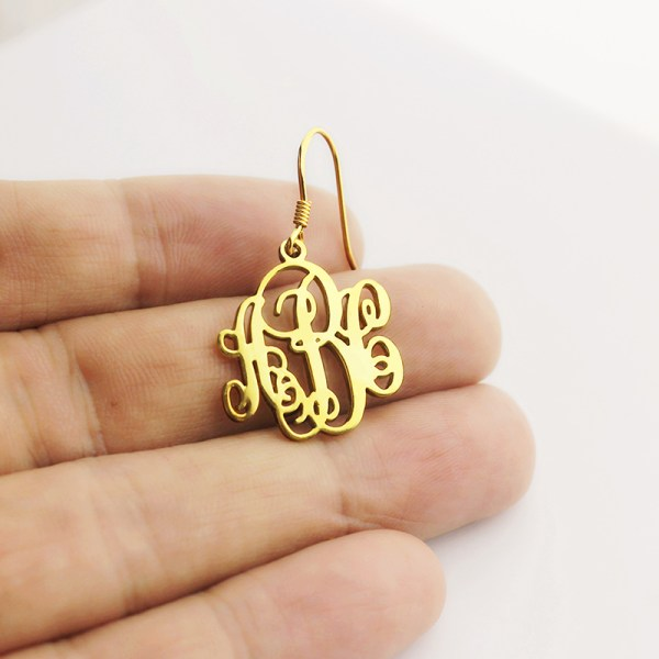 Script Monogram Initial Earrings 18k Gold Plated