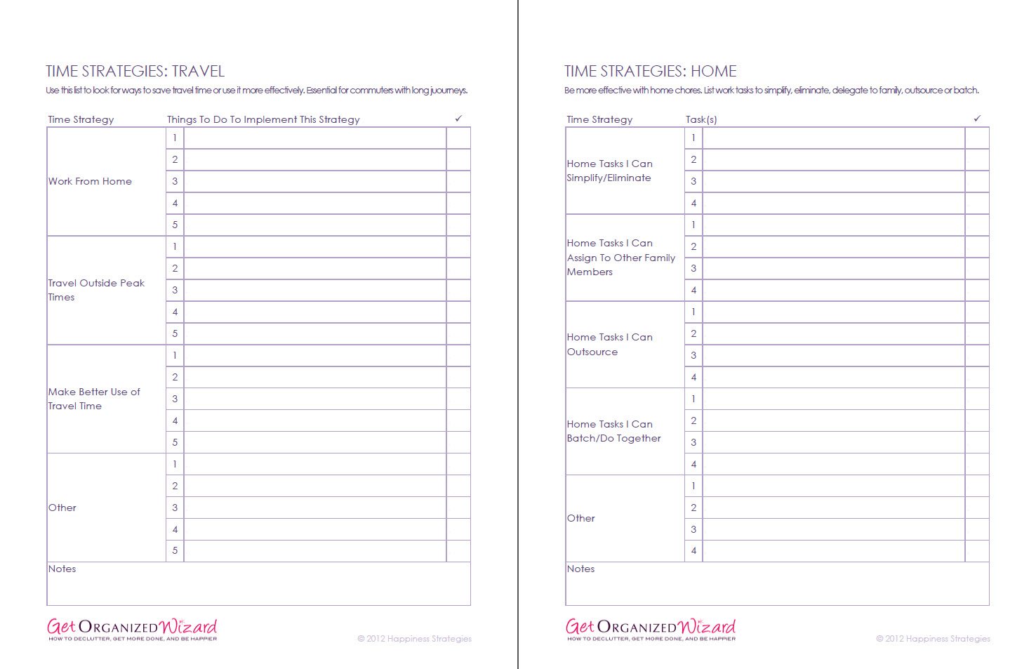 Time Management Worksheets