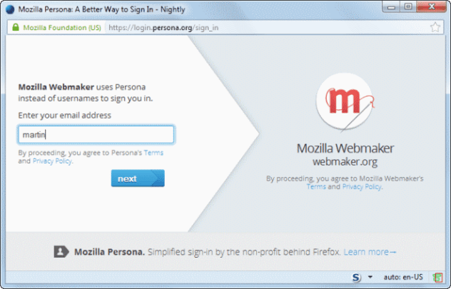 mozilla persona gmail integration